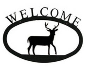 Village Wrought Iron WEL-3-S Deer Welcome Sign Small - Black