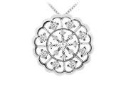 FineJewelryVault UBPD1790W14D-101 Diamond Flower Pendant : 14K White Gold - 1.00 CT Diamonds
