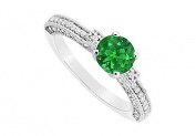 FineJewelryVault UBJS3133AW14DE-110 Emerald and Diamond Engagement Ring : 14K White Gold - 1.00 CT TGW - Size 7