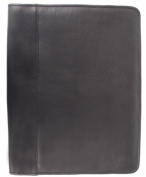 Piel 2282-BLK Leather Leather Zippered Padfolio - Black