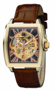 Charles-Hubert Paris 3888-A Mens Gold-Plated Stainless Steel Skeleton Dial Automatic Watch