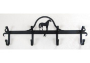 Village Wrought Iron CB-68 Wall Mounted Wrought Iron Coat Rack-Hooks - Standing Horse