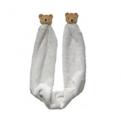 Little Dundi SCS-11IV Soft and Cuddly Scarf with Bear Pompon - Ivory