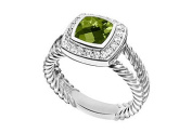 FineJewelryVault UBRT9W14DPR-101 Peridot and Diamond Rope Ring : 14K White Gold - 5.50 CT TGW - Size