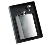 Aeropen International GF-508 2 Pcs. Set - 240ml Shiny Silver Rimless Stainless Steel Flask and Funnel in Black Gift Box