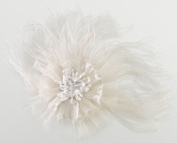 Lillian Rose JL236 I Marabou Feather Hair Clip-Pin - Ivory
