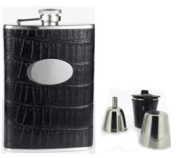 Visol VSET29-2006 Fantastique Black Crocodile Leatherette 8oz Deluxe Flask Gift Set