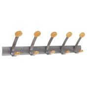 Wooden Coat Hook, Five Wood Peg Wall Rack, Brown/Silver