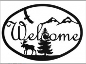 Village Wrought Iron WEL-176 Medium Moose and Eagle Welcome Sign
