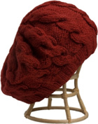 Nirvanna Designs CH208 Red Cable Beret with Fleece Band Lining