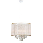 Dainolite JOS156-PC-117 6 Light Crystal Chandelier with Oyster Organza Drum Shade - Polished Chrome