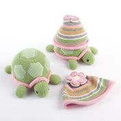 Baby Aspen BA11029PK Turtle Toppers Baby Hat and Turtle Plush Gift Set - Pink