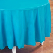 Creative Converting 193005 Bermuda Blue- Turquoise Round Plastic Tablecover