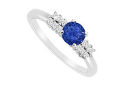 FineJewelryVault UBJS3120AW14DS-101 Sapphire and Diamond Engagement Ring : 14K White Gold - 0.75 CT TGW - Size 7