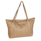 Blancho Bedding SY26-KHAKI Lasting Charm . Khaki Double Handle Leatherette Satchel Bag Handbag Purse