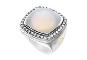 FineJewelryVault UBRT8W14DMQZ-101 Moon Quartz Rope Ring : 14K White Gold - 10.50 CT TGW - Size