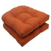 Pillow Perfect 503936 Outdoor Cinnabar Wicker Seat Cushion in Burnt Orange - Set of 2 - Orange