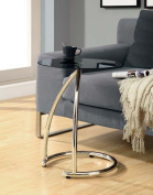 Monarch Specialties I 3004 Chrome Metal Accent Table With Black Tempered Glass