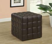 Monarch Specialties I 8980 Dark Brown Leather-Look Ottoman