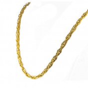 AAB Style NSSX-207 Stainless Steel Necklace with Interlocking Oval Links and Gold PVD - 24 in.
