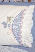 Fairway 493913 Stamped Lace Edge Pillowcase 80cm . x 50cm . 2-Pkg-Cross Stitch Lady