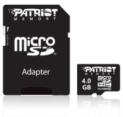 Patriot Signature Series 4GB microSDHC Flash Card Class 4, SD Adapter included model# PSF4GMCSDHC43P