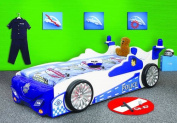 Police Racing Car Kids Bed with Full Size Mattress