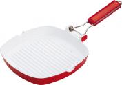 Pedrini Red Colour 3mm Ceramic Coated Square Grill Pan - 24x24cm