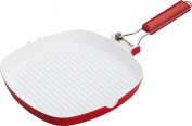 Pedrini Red Colour 3mm Ceramic Coated Square Grill Pan - 28x28cm