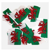Wales flag bunting Fabric 9m / 30 flags