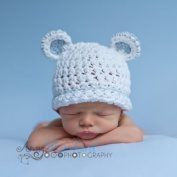 Sugar Bear Boy with Light Blue Trim Beanie Baby Hat