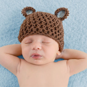 Melondipity Boys Organic Brown, Blue Sugar Bear Baby Hat - Crochet Beanie - Perfect Hospital Cap