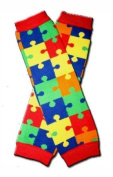 RED PUZZLES Baby Leggings/Leggies/Leg Warmers for Cloth Nappies - UNISEX & ONE SIZE by BubuBibi