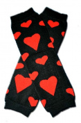 Precious Eggs Unisex-Baby Red Hearts Leg Warmer Black & Red