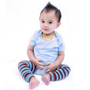 Bambino Land - Sage/brown Blue Stripes Organic Cotton Baby Leg Warmers