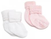 Jefferies Socks Rock-A-Bye Bootie, 6 Pack, White/Pink
