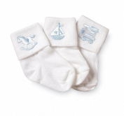 Jefferies Socks Baby Boy Collection Appliques, 3 Pack, White