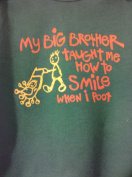 My Brother Taught me to Smile when I poot Body Suit, Green Long Sleeve