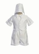 White Satin Christening Baptism Short Set with Vest and Hat