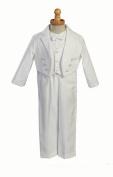 Boy's White Cotton Tuxedo with Pique Vest