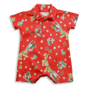 Pepper Toes by Baby Lulu - Newborn And Infant Boys Short Sleeve Santa Romper