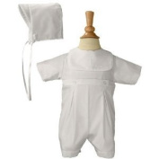White Polycotton Christening Baptism Romper with Screened Cross