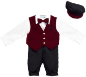 Boys 5Pc Knicker Set In Velvet - Burgundy