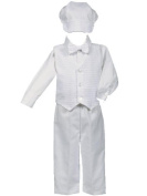 White Poly-Cotton Weaved Vest, Bow and Pant Set