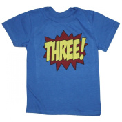 Happy Family Superhero Third Birthday Kids T-Shirt