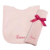 Princess Linens Cotton Knit Bib and Burp Pad Set