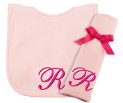 Princess Linens Embroidered Cotton Knit Bib and Burp Set - Pink