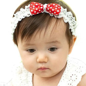 LOCOMO Baby Girl Cute Headband Elastic Lace Dotted Bow FBA029