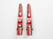 I Love Teddy Bear - Baby Girl & Toddler Hair Clips - Pink & Red