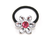 Sunshiny Crystal Flower - Baby Girl & Toddler Hair Band / Ponytail Holder - many colours available